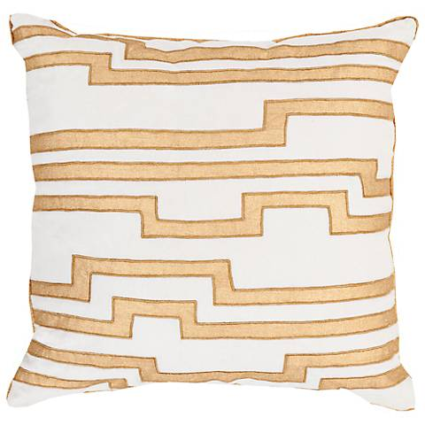 "Surya Charming Key Print Yellow 18"" Square Throw Pillow"