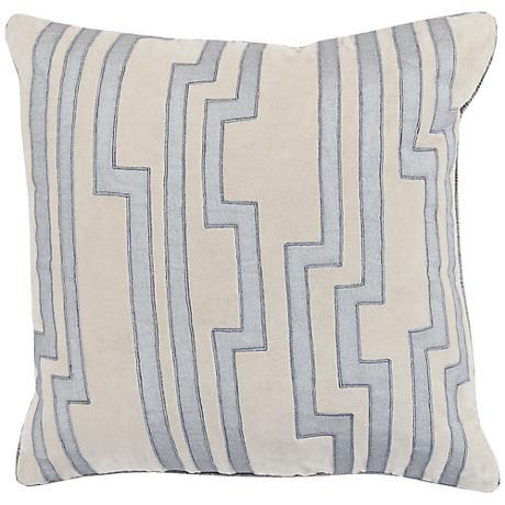 "Surya Charming Key Print Gray 18"" Square Throw Pillow"