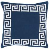 "Surya Keeper of the Keys Navy Blue 18"" Square Throw Pillow"