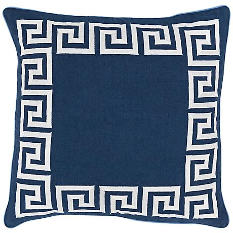 """Surya Keeper of the Keys Navy Blue 18"""" Square Throw Pillow"""