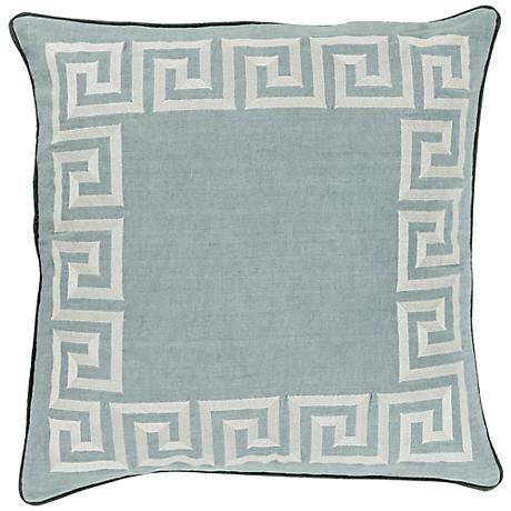 "Surya Keeper of the Keys Light Blue 18"" Square Throw Pillow"