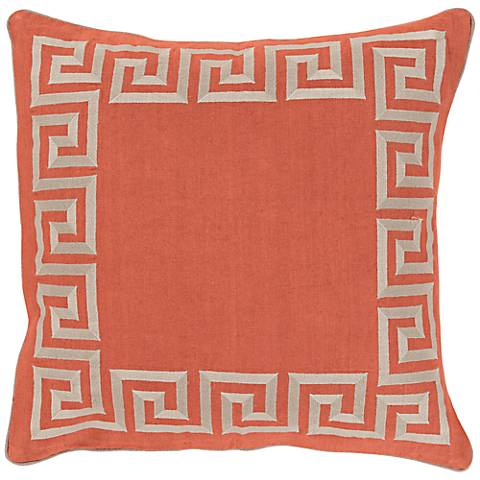 "Surya Keeper of the Keys Orange18"" Square Throw Pillow"