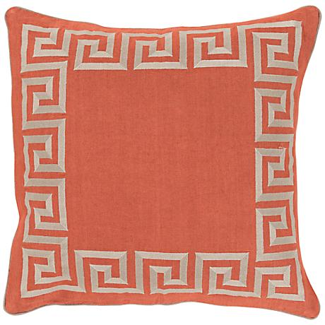 "Surya Keeper of the Keys Orange18"" Square Throw Pillow"