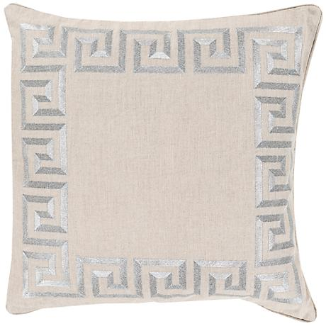 "Surya Keeper of the Keys Silver 18"" Square Throw Pillow"