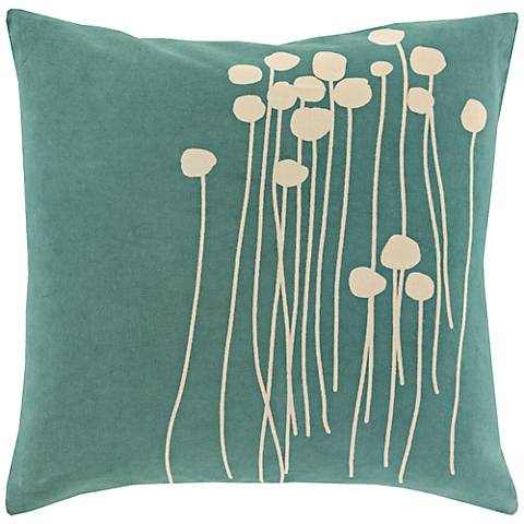 "Surya Blooming Buds Green 18"" Square Throw Pillow"