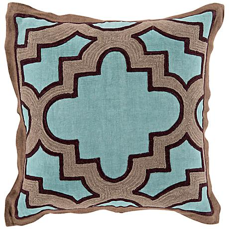 "Surya Modern Maze Green and Blue 18"" Square Throw Pillow"