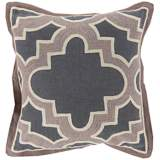 "Surya Modern Maze Gray and Brown 18"" Square Throw Pillow"