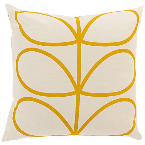 "Surya Long Line Leaf Yellow 18"" Square Throw Pillow"