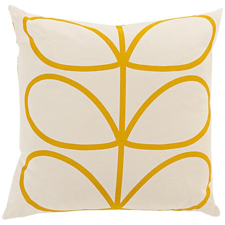"""Surya Long Line Leaf Yellow 18"""" Square Throw Pillow"""