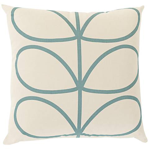 "Surya Long Line Leaf Teal Blue 18"" Square Throw Pillow"