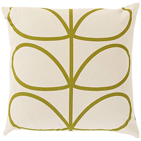 "Surya Long Line Leaf Green 18"" Square Throw Pillow"