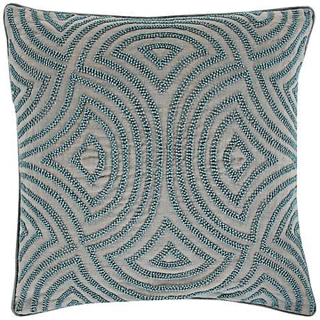 "Surya Linen and Beads Dark Gray 18"" Square Throw Pillow"