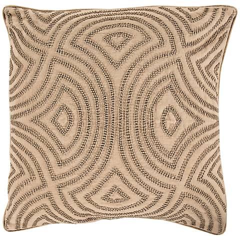 "Surya Linen and Beads Brown 18"" Square Throw Pillow"