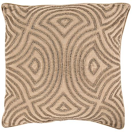 """Surya Linen and Beads Brown 18"""" Square Throw Pillow"""