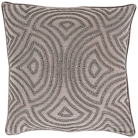 "Surya Linen and Beads Gray 18"" Square Throw Pillow"