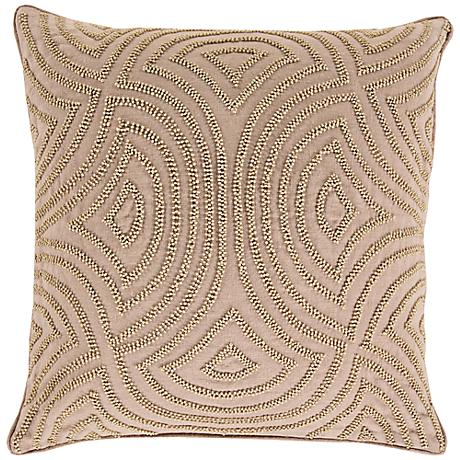"Surya Linen and Beads Neutral 18"" Square Throw Pillow"