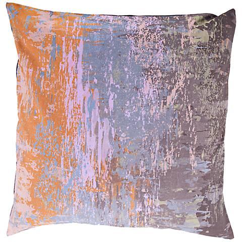"Surya Wonder of Watercolor Orange and Purple 18""W Pillow"