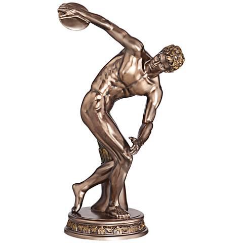 "Discus Thrower Bronze 11 1/2"" High Figurine"