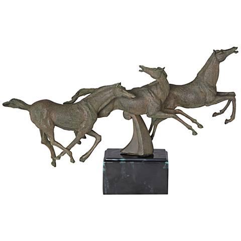 "Running Horses 10 1/4"" High Figurine"