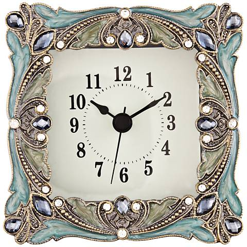 Emerada Blue and Gold Jeweled Table Clock