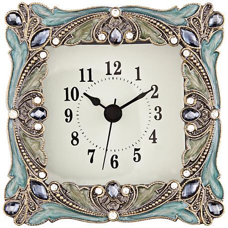 Emerada Blue and Gold Jeweled Table Clock