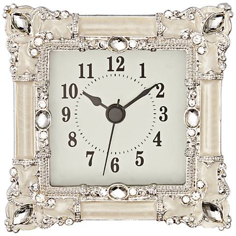 Kenova White and Silver Jeweled Table Clock