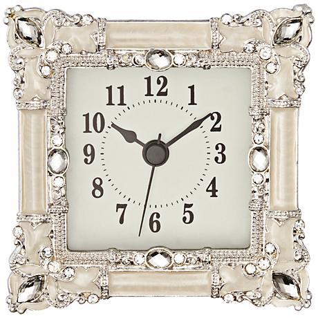 Kenova White and Silver Jeweled Table Clock