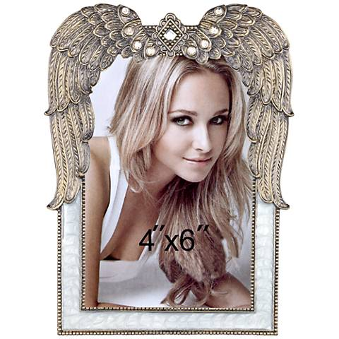 Taunton Gold and White 4x6 Winged Photo Frame