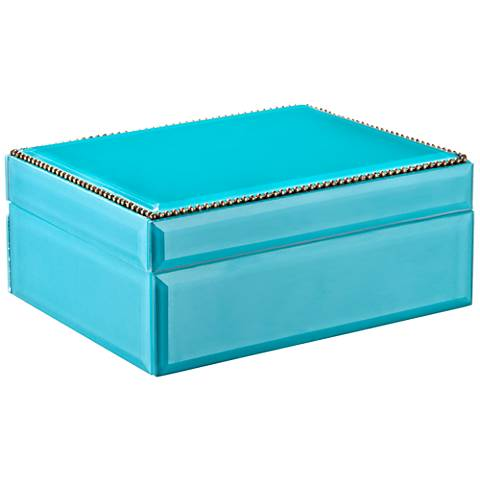 Kinney Turquoise Blue Decorative Glass Box