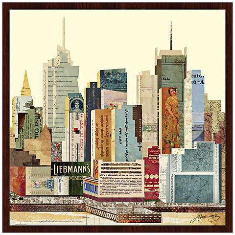 "New York City Skyline II 26"" Wide Framed Wall Art"