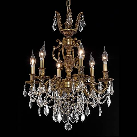 "Marseille 20"" Wide French Gold 6-Light Chandelier"