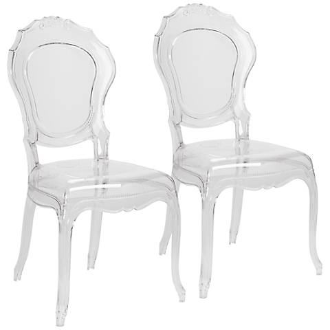 Venezia Transparent Clear Accent Chair Set of 2