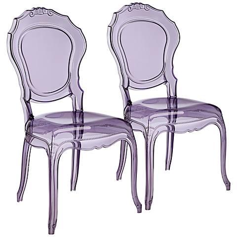 Venezia Transparent Violet Accent Chair Set of 2
