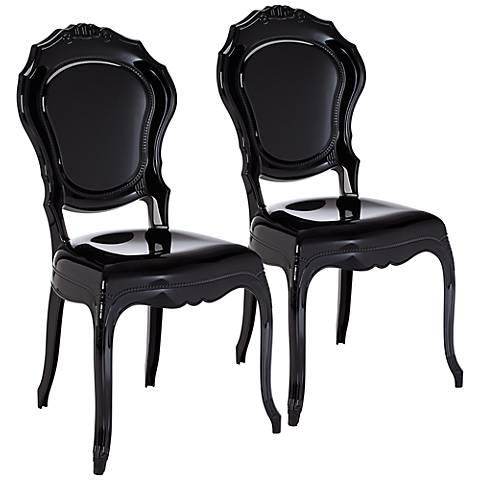 Venezia Opaque Black Accent Chair Set of 2
