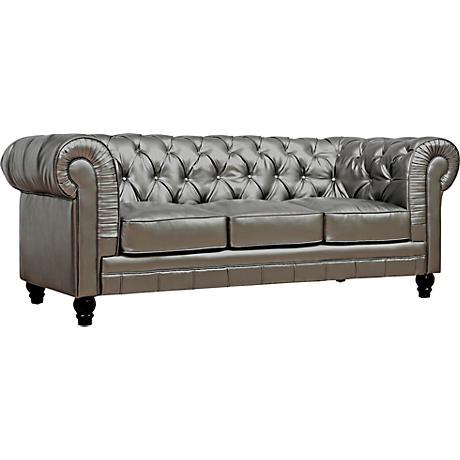 Zahara Silver Bonded Leather Sofa