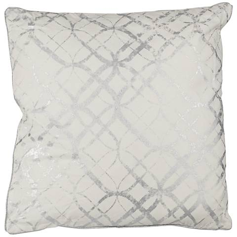 "Silver Metallic Foil Print 20"" Square Decorative Pillow"