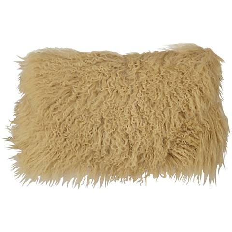 "Gold Mongolian Fur 20"" x 12"" Decorative Pillow"