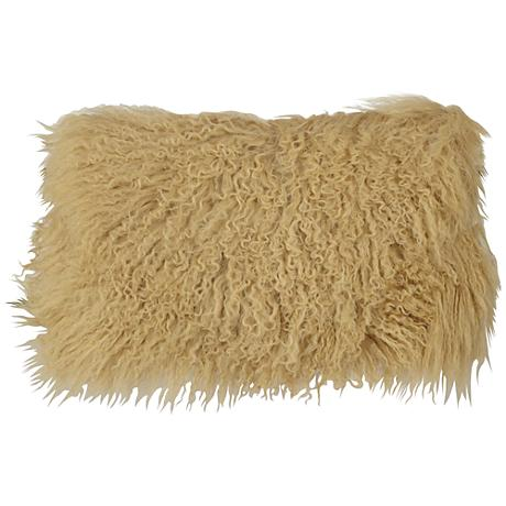"Gold Mongolian Fur 20"" x 12"" Decorative Pillow"