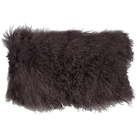 "Gray Mongolian Fur 20"" x 12"" Decorative Pillow"