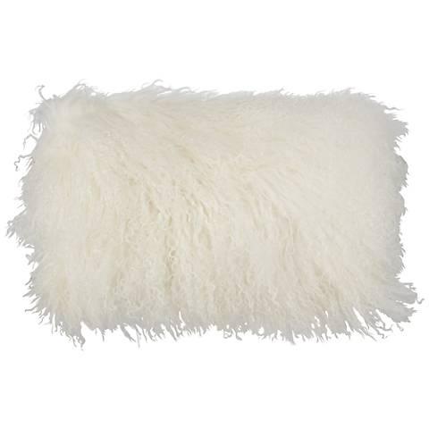 "Ivory Mongolian Fur 20"" x 12"" Decorative Pillow"