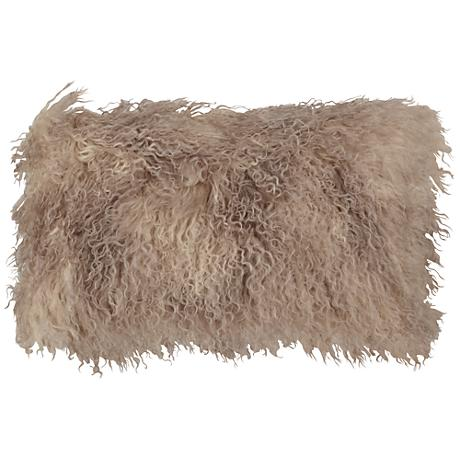"Oyster Mongolian Fur 20"" x 12"" Decorative Pillow"