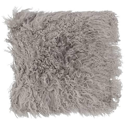 "Fog Mongolian Lamb Fur 16"" Square Decorative Pillow"
