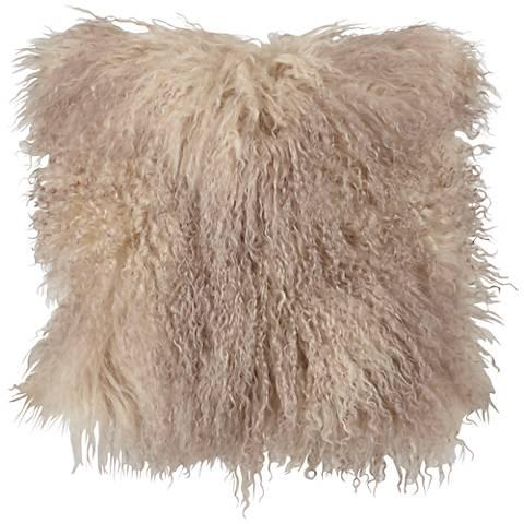 "Oyster Mongolian Lamb Fur 16"" Square Decorative Pillow"