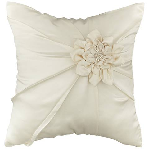 """Decorative Cream Dahlia 16"""" Square Throw Pillow"""