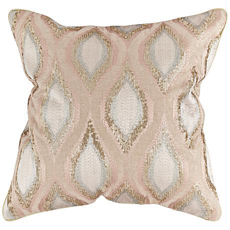 "Bronze Sequin Swirl 20"" Square Throw Pillow"