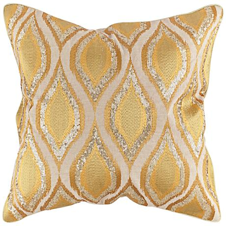 "Gold Sequin Swirl 20"" Square Throw Pillow"