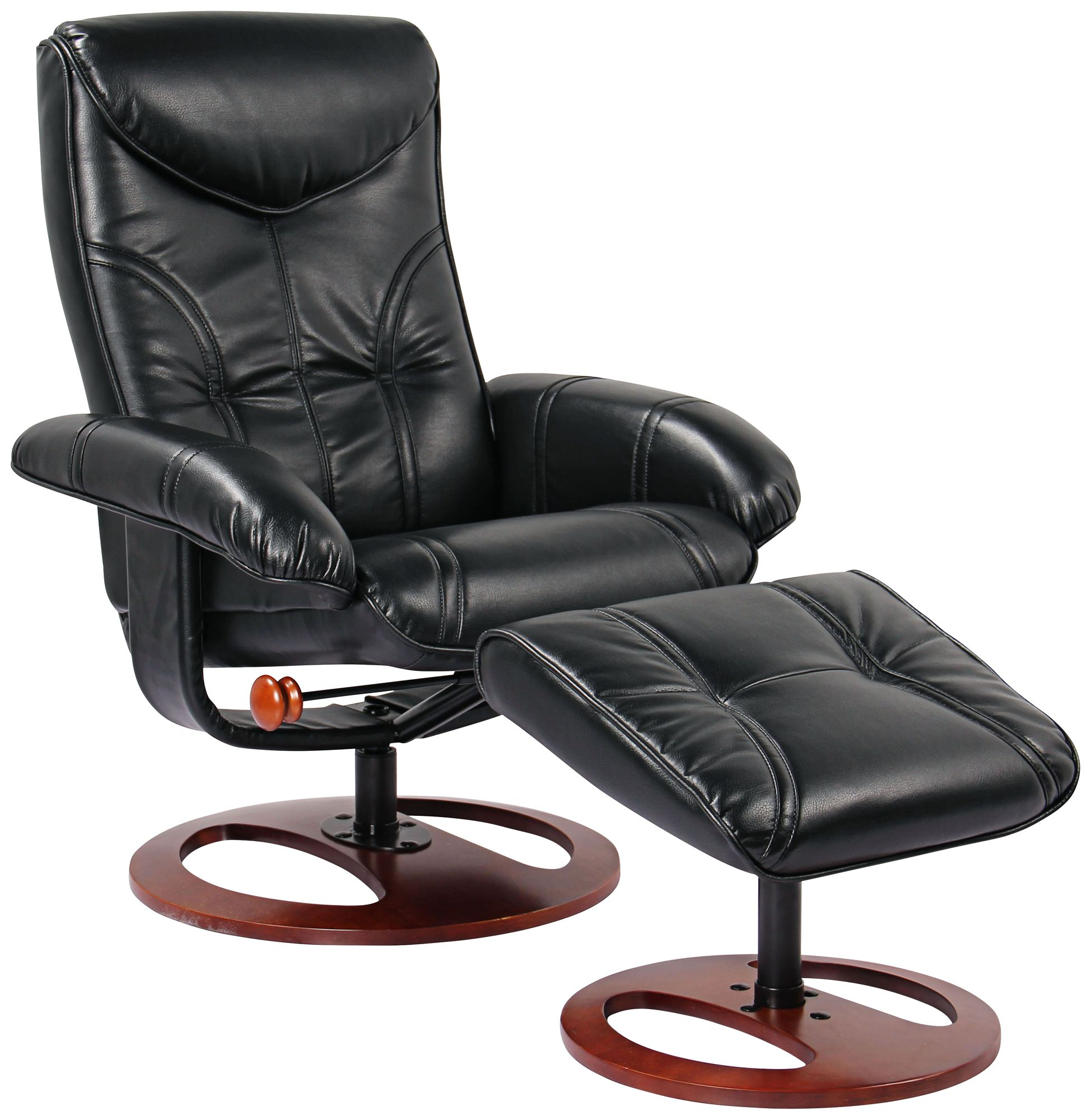 Newport Walnut Swivel Recliner And Slanted Ottoman In Black