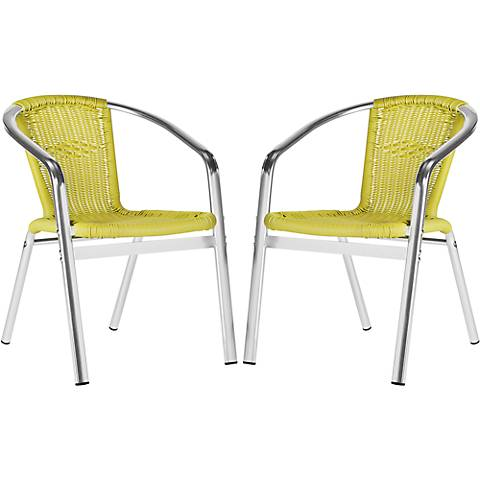 Wrangell Green Wicker Armchair Set of 2