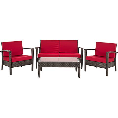 Piscataway Brown and Red Wicker Conversation Set