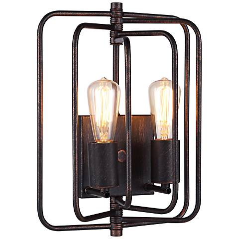 """Lewis 13"""" High Dark Bronze Square 2-Light Wall Sconce"""